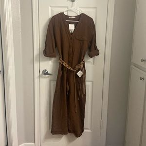 Zara linen brown jumpsuit with belt